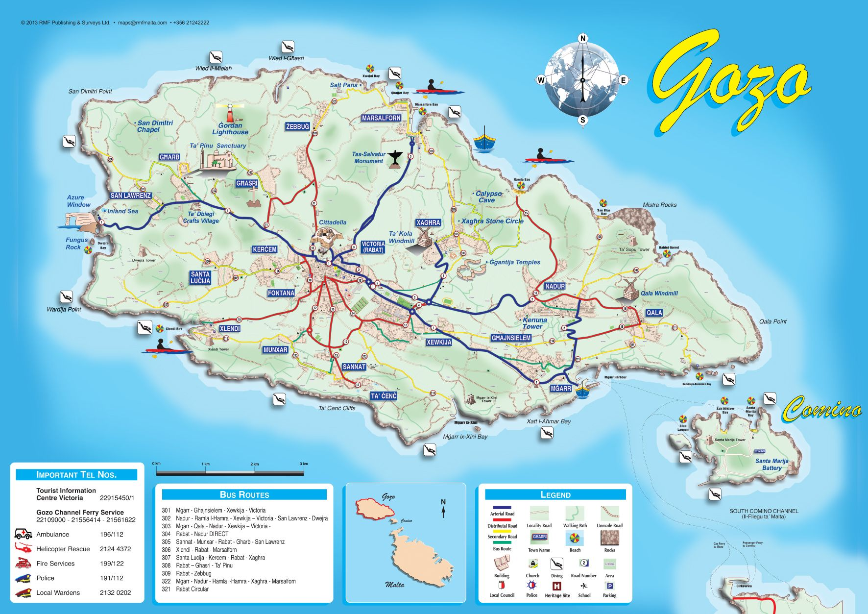 Map of Gozo and Comino Malta MAPS Pinterest