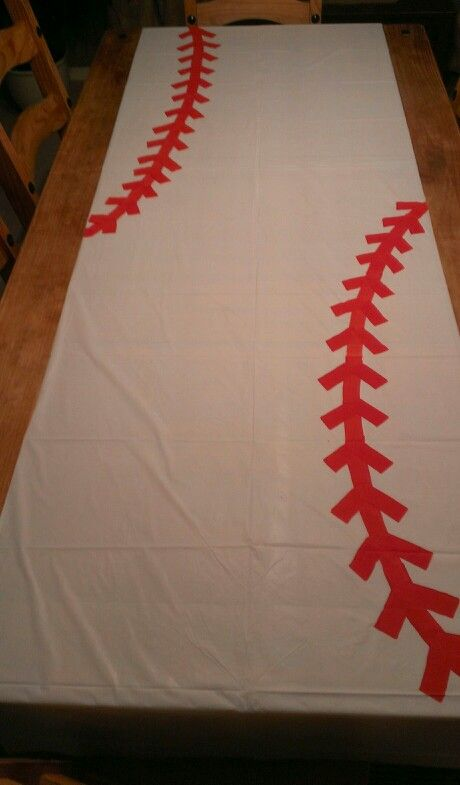 Baseball Party Table Cloth From The Dollar Store That I