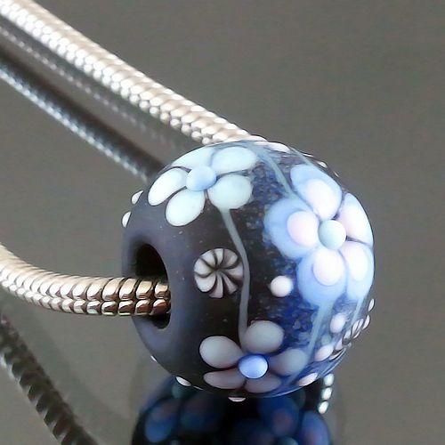 PIKALDA=handmade lampwork 1glass charm bead big hole flower=NIGHT LIGHT=SRA