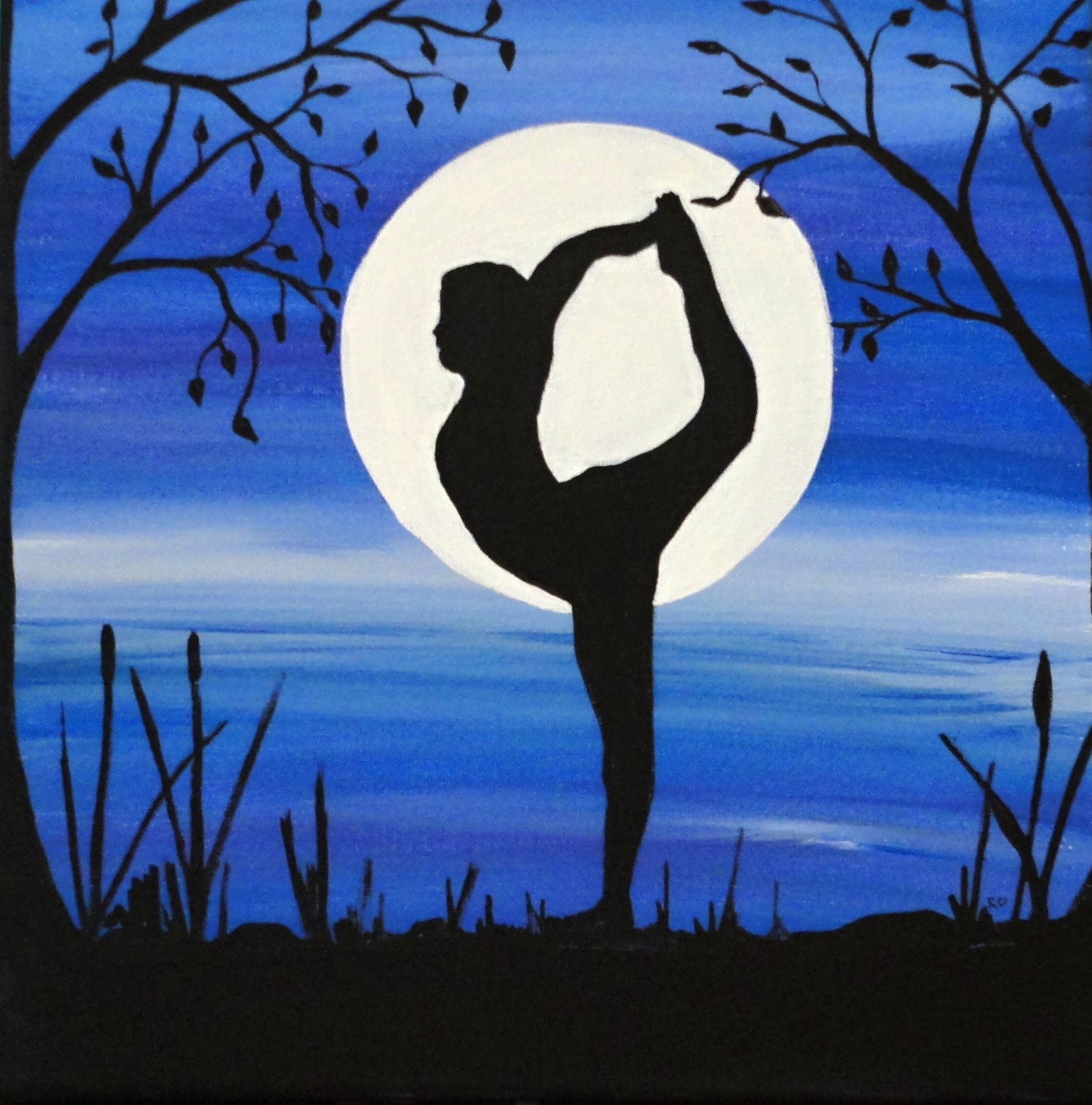 Silhouette paintingflexibility 10x10 acrylic on canvas