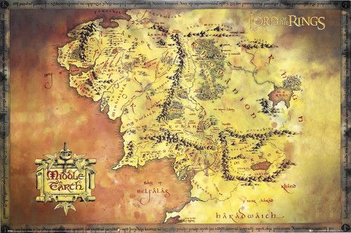 map of middle earth poster lord of the rings exclusive import full size 24x36