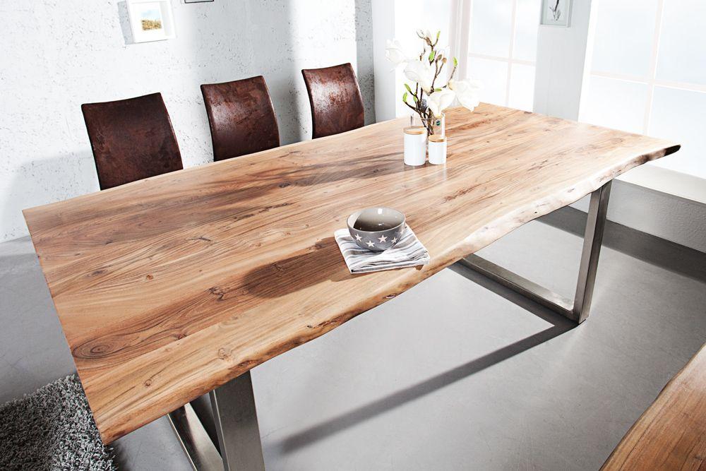 Massiver Baumstamm Tisch MAMMUT 180cm Akazie Massivholz Industrial - esstische aus massivholz ideen