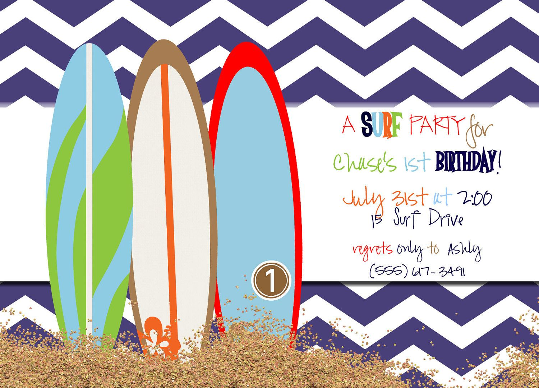 Surfer Boy Birthday Party Invites (20 printed). $33.50, via Etsy ...