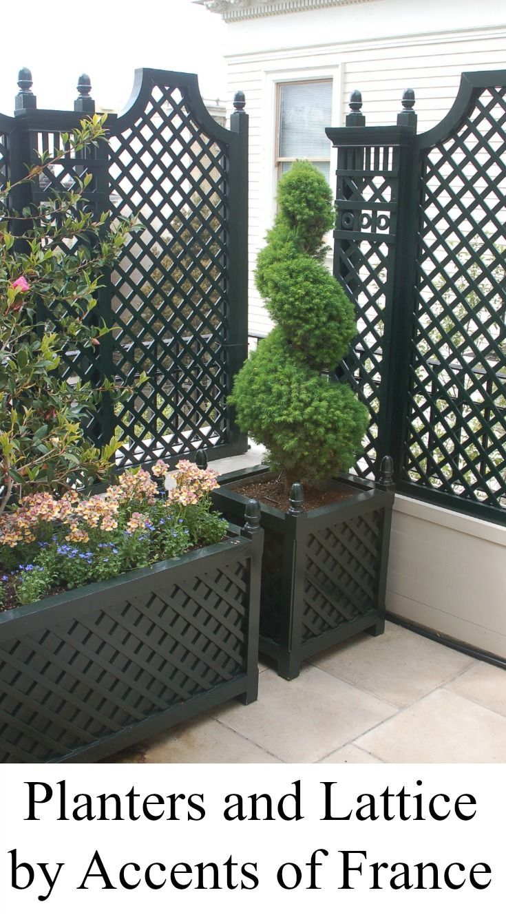 Balcony With Lattice And Planters By Accents Of France French Country Garden Garden Design Backyard