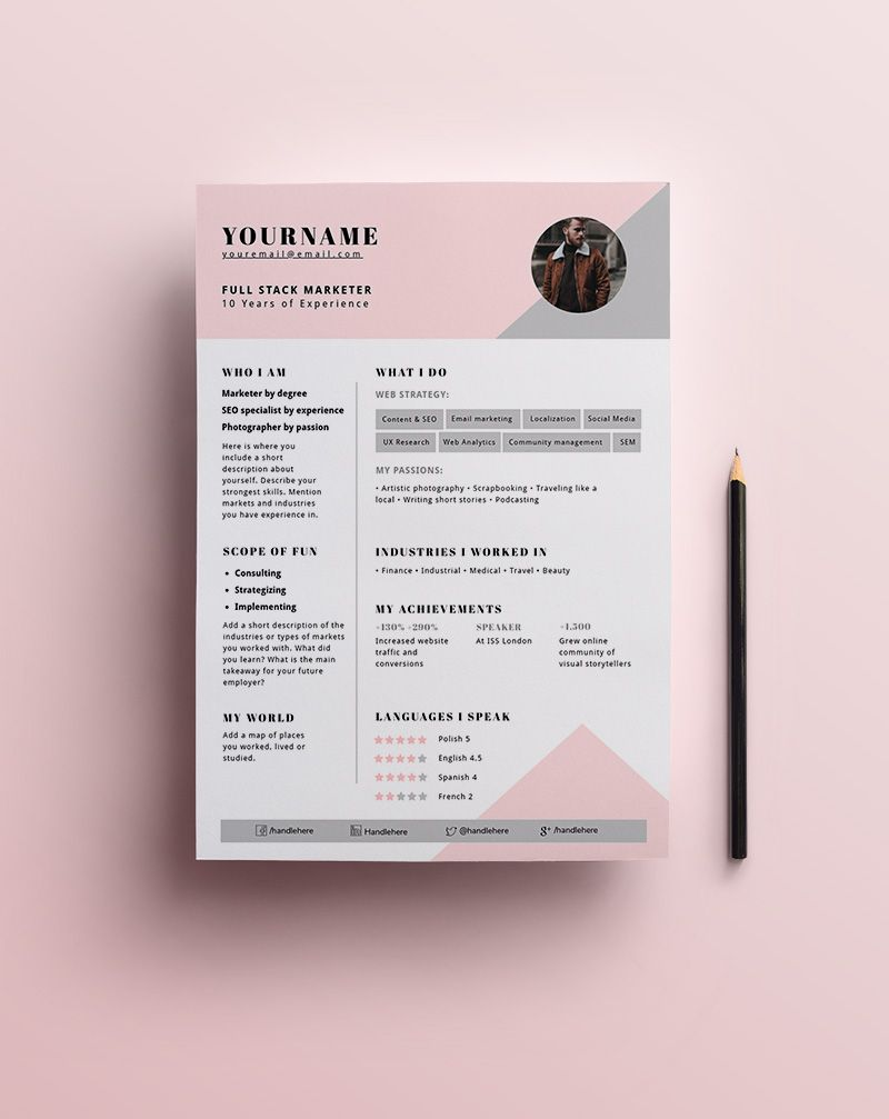 Resume Template Marketer Use This Template Pro Creative Resume Resume Design Creative Cv Template