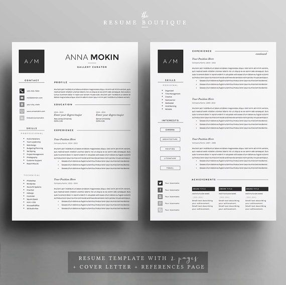 4page Resume   CV Template Cover Letter by TheResumeBoutique - reference template for resume
