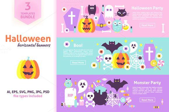 Halloween Horizontal Web Banners - Illustrations