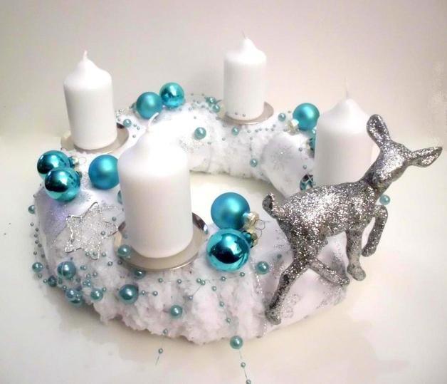 adventskranz t rkis christmas candels weihnachtsdeko. Black Bedroom Furniture Sets. Home Design Ideas