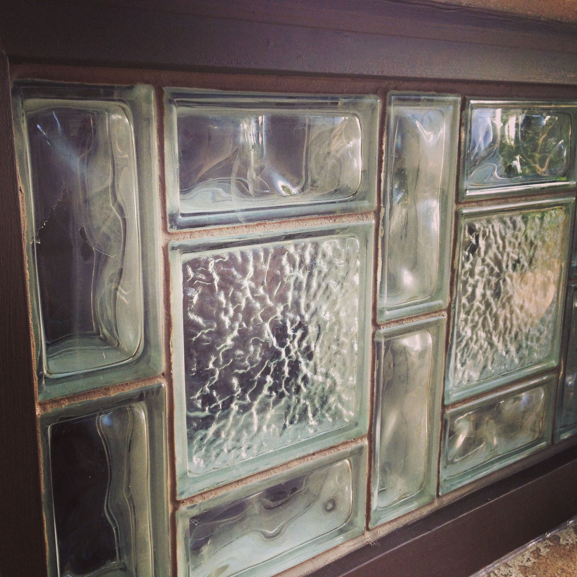 Glass Block Window With Sanded Caulk Gives This Window A