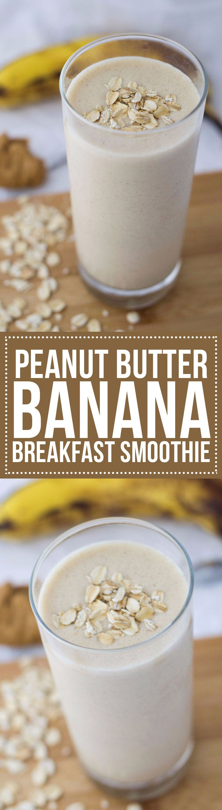 A Peanut Butter Banana Breakfast Smoothie is the perfect way to start the day! With 16 grams of protein, it'll fill you up too. #proteinshakes