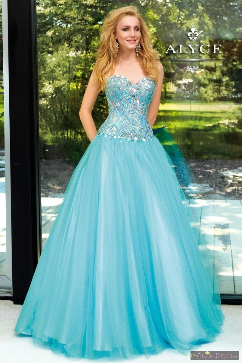 Alyce Paris Prom Dress 6109 - Ball gown, shiny tulle, strapless ...
