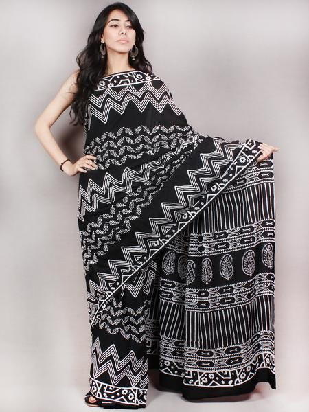 Black White Hand Block Printed Cotton Saree in Natural Colors - S03170822
