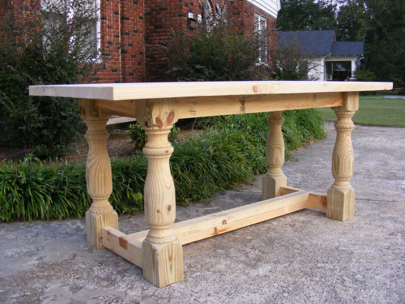 Handcrafted Solid Pine 36 INCH TALL Dining Or Kitchen Table With 2 Inch  Thick Top Beautiful
