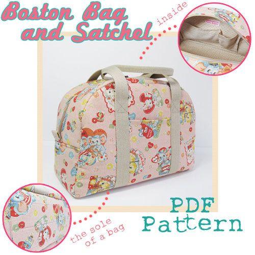 PDF Sewing Pattern -Boston Bag and Satchel | taschen | Pinterest ...