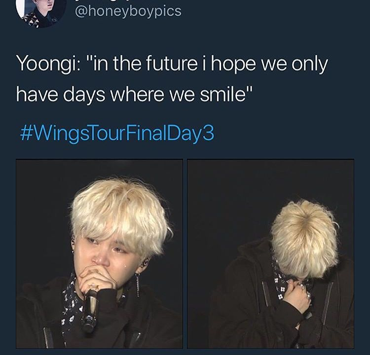 Suga Crying During His Ment Bts Wings Tour Final Bts