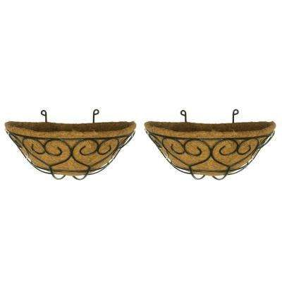 Coconest 9 In Painted Steel Half Basket Planters 2 Pack Happy