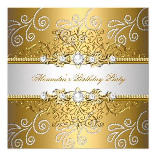 Elegant gold silver lace diamond overlay party card birthdays and elegant gold silver lace diamond overlay party 525 square invitation card 220 per card filmwisefo