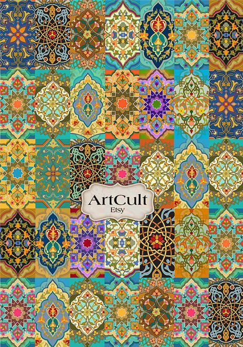 Oriental patchwork rug digital collage sheet printable for Orientalische tapete