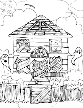 This boarded-up haunted house is spooky, but kids will