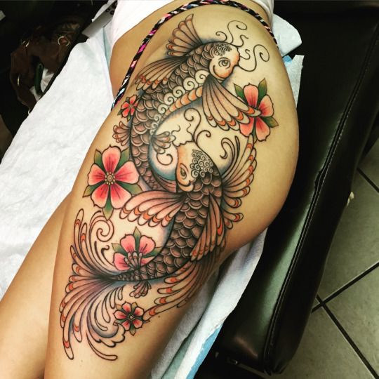 a0d5e29acaeb3 Awesome Combined Cherry Blossom with Koi Fish Tattoos | POP TATTOO ...