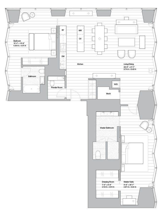Norman Foster Aby Rosen S Midtown Condo Gets Floorplans Floor Plans House Floor Plans Floor Plan Layout