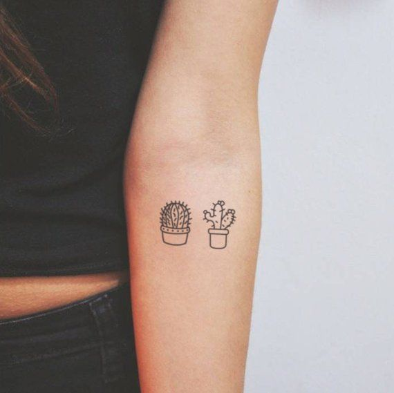 bf8ab30cf9263 Cactus Couple Temporary Tattoo (Set of 2+2) | Products | Tattoos ...