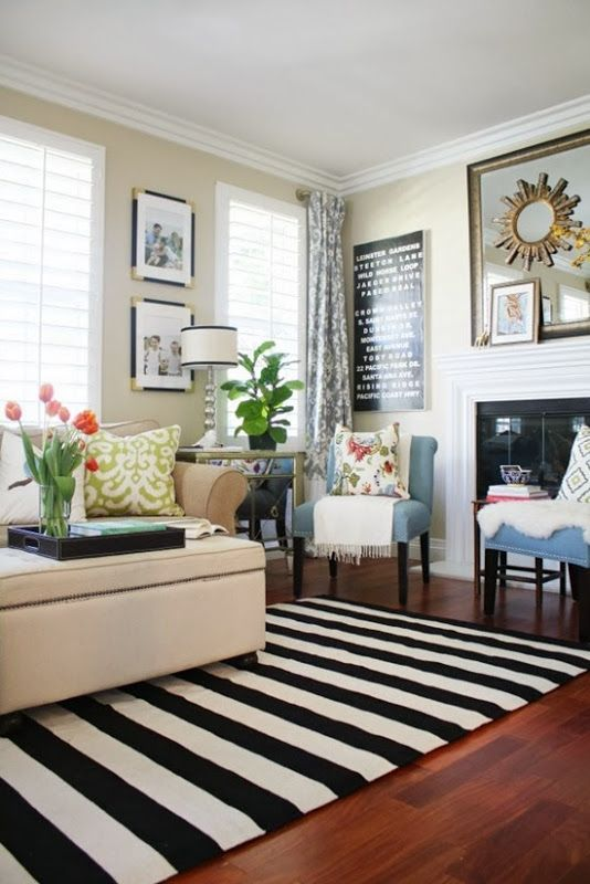 The Chic Technique: From A Thoughtful Place. Black And White Striped Rug.  Black Accents On Wall. Pops Of Color In Living Room. Part 33