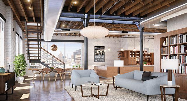 loft au design interieur retro dans un style industriel
