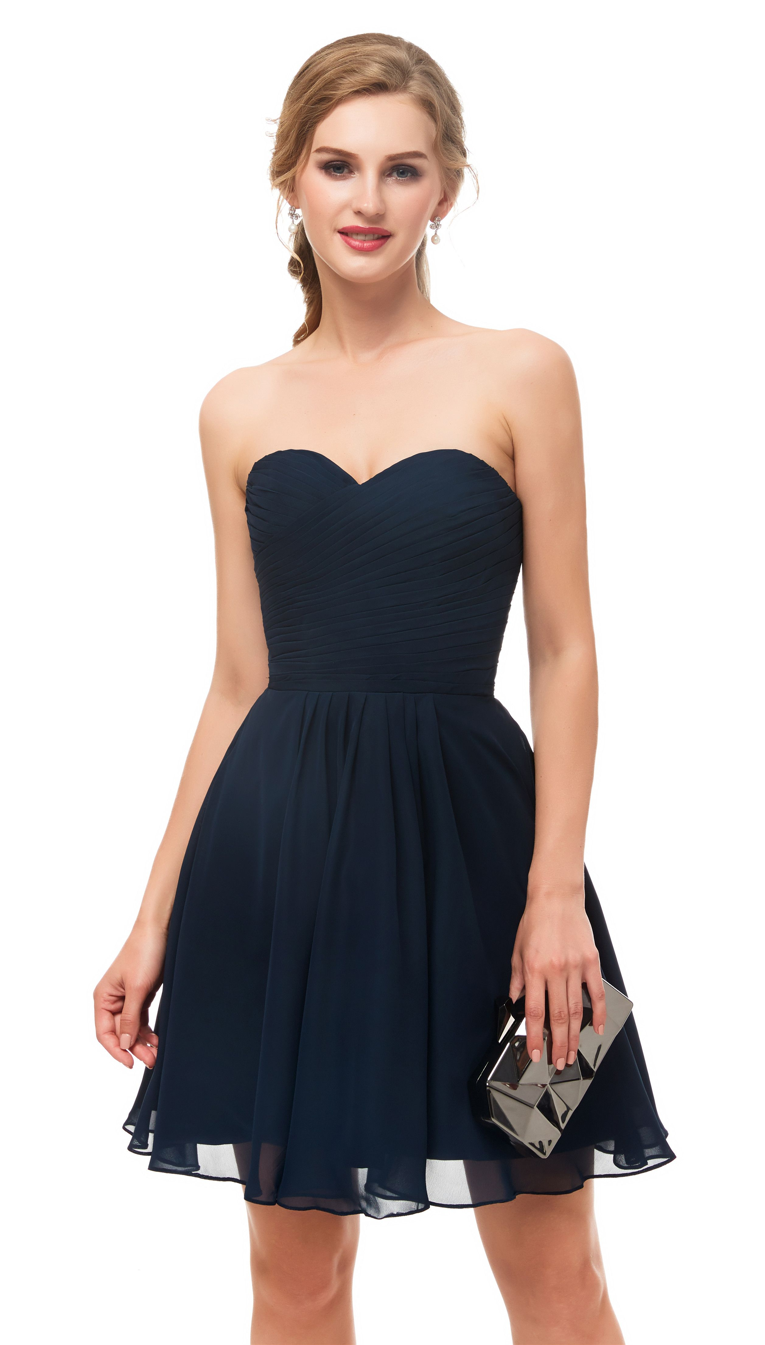 Classic sweetheart navy blue chiffon prom dress in liked by