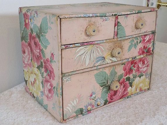 Vintage Wallpaper Pink Chest Of Drawers Vintage Shabby Cottage Chic Small Cardboard Dresser Antique Pink Chintz Roses