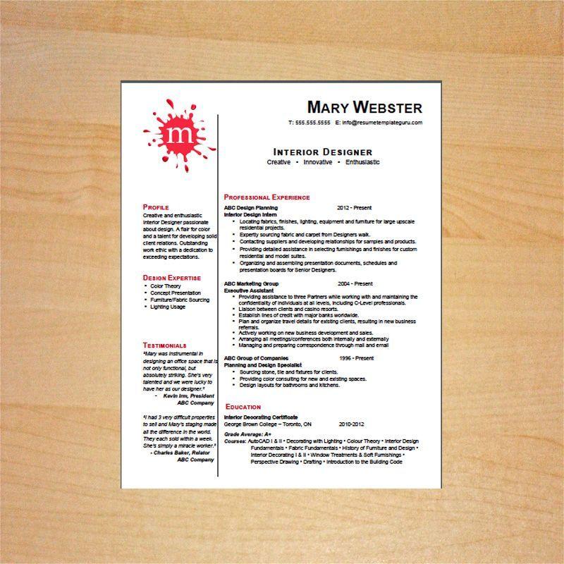 Interior designer resume template resume template guru