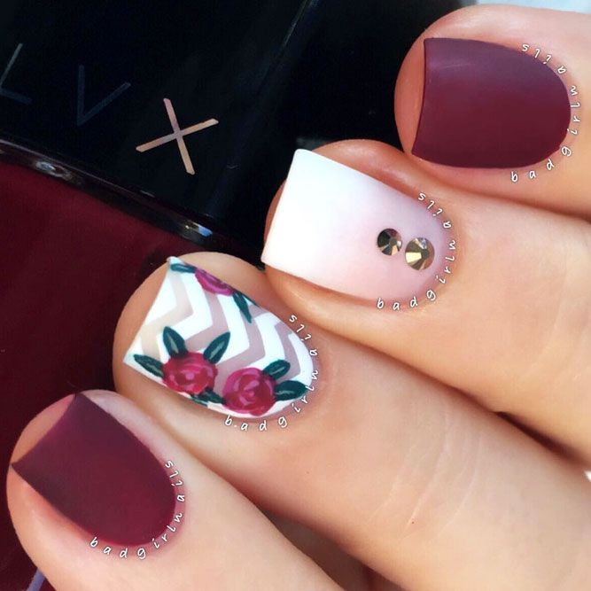 27 Dazzling Ideas For Maroon Nails Designs | Maroon nails, Maroon ...