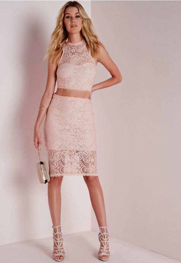 5cc4be30e Lace Midi Skirt Nude | Outfits | Skirts, Midi skirt, Lace