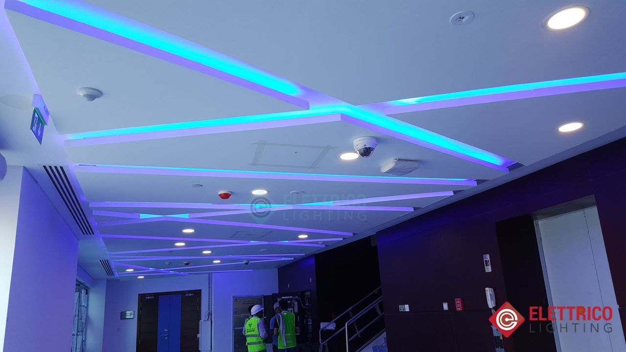 Decorative Light Emitting Diode Strips Of Blue Color On The Ceiling Led Light Fixtures Led Lights Buy Led Lights