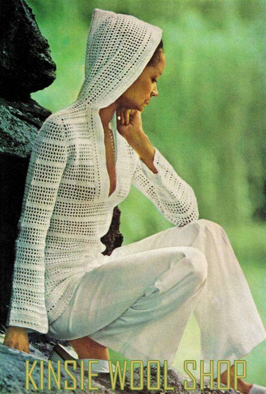 Crochet con capucha patrón superior - Vintage Retro Boho Hippie años ...