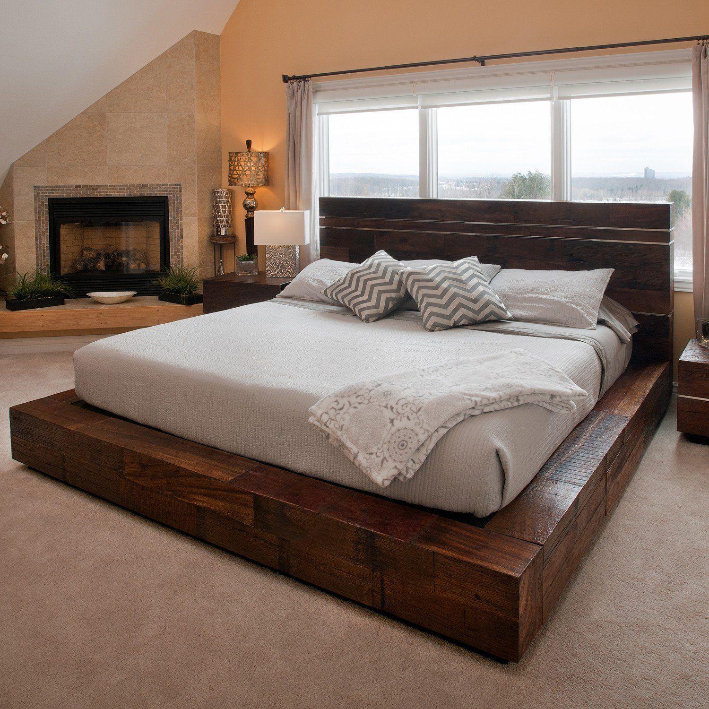 Reclaimed Wood Platform Bed Wood platform bed, Rustic