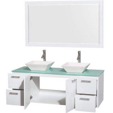 Wyndham Collection Amare 60 inch Double Bathroom Vanity in Glossy