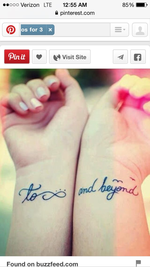 To Infinity And Beyond Tattoos Pinterest Tattoos Friend