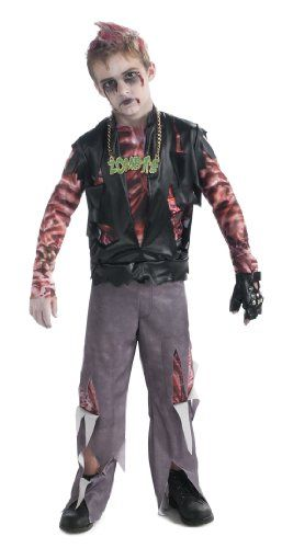 Boy's Zombie Punk Rocker #1 Costume, Medium