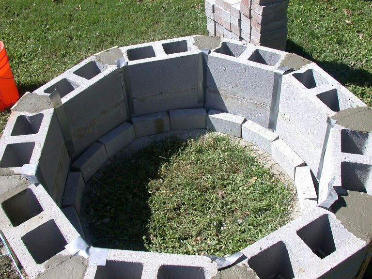 Photo Inside Of Cinder Block Wall Before Bricks Cinder Block Fire Pit Outdoor Fire Pit Designs Fire Pit Plans