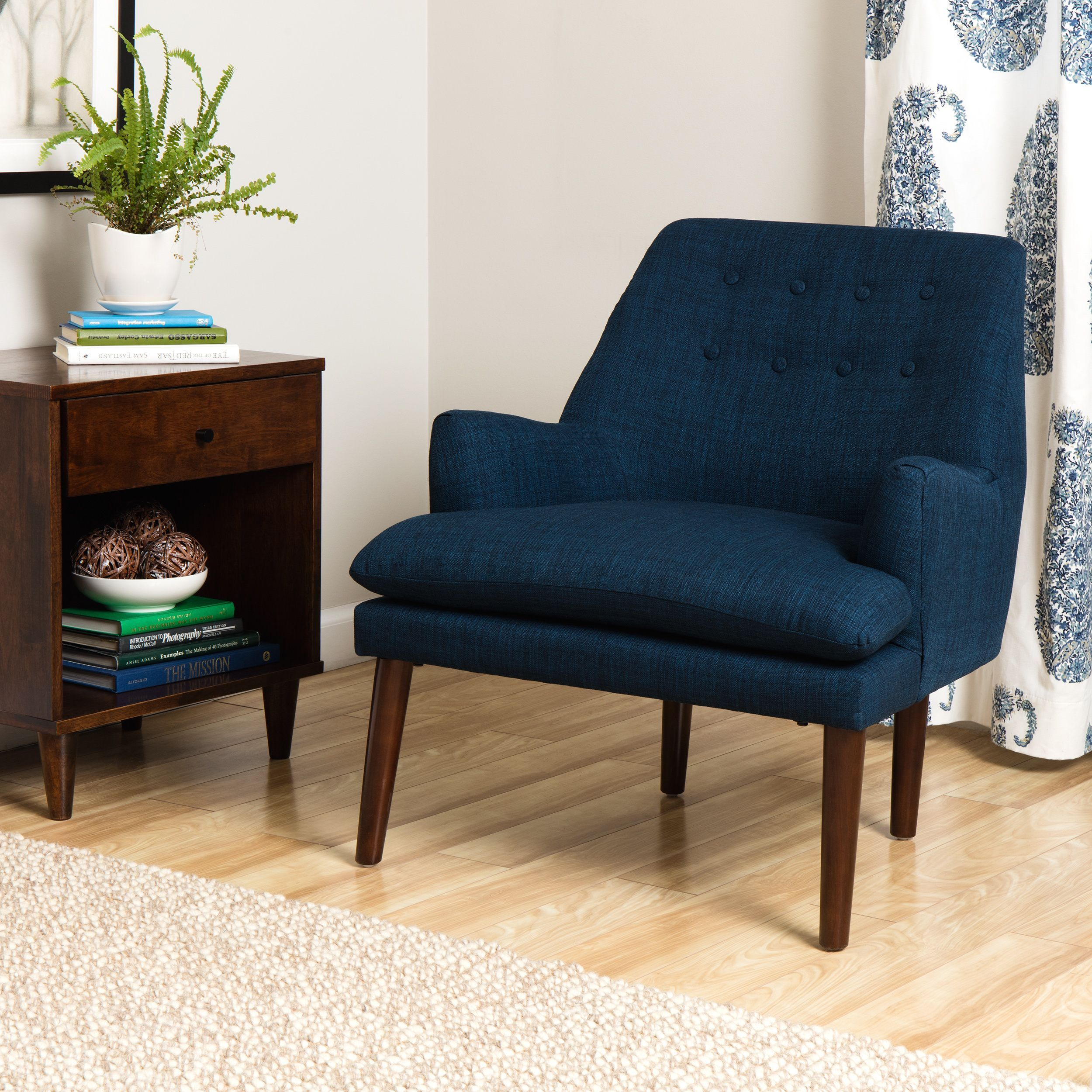 If Transitional Is Your Style, This Button Tufted Chair Is The Perfect  Choice. With A Retro Inspired Shape, This Accent Chair Is Made With A Navy  Colored ...
