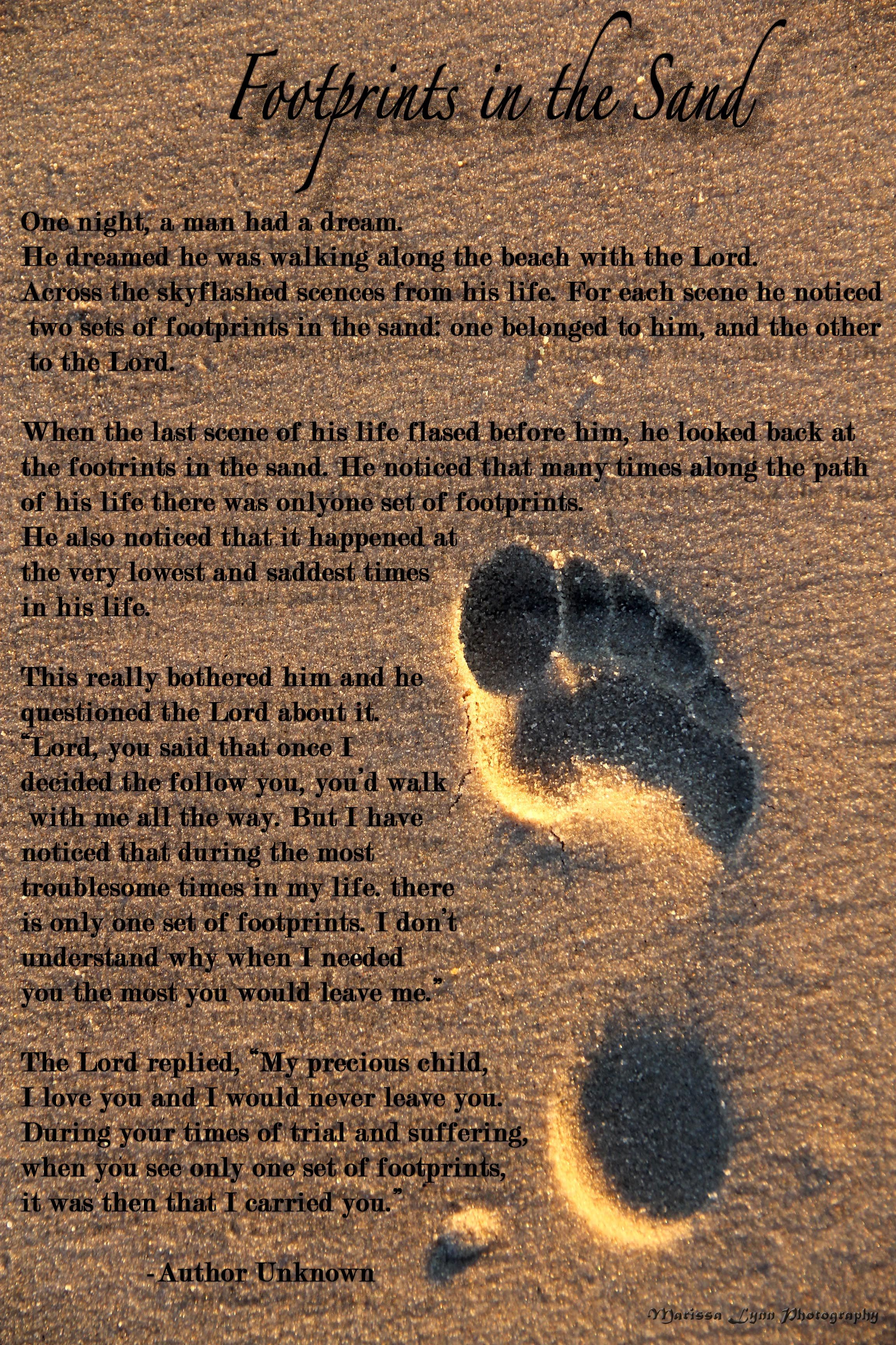 Footprints In The Sand A Personal Favourite Poem