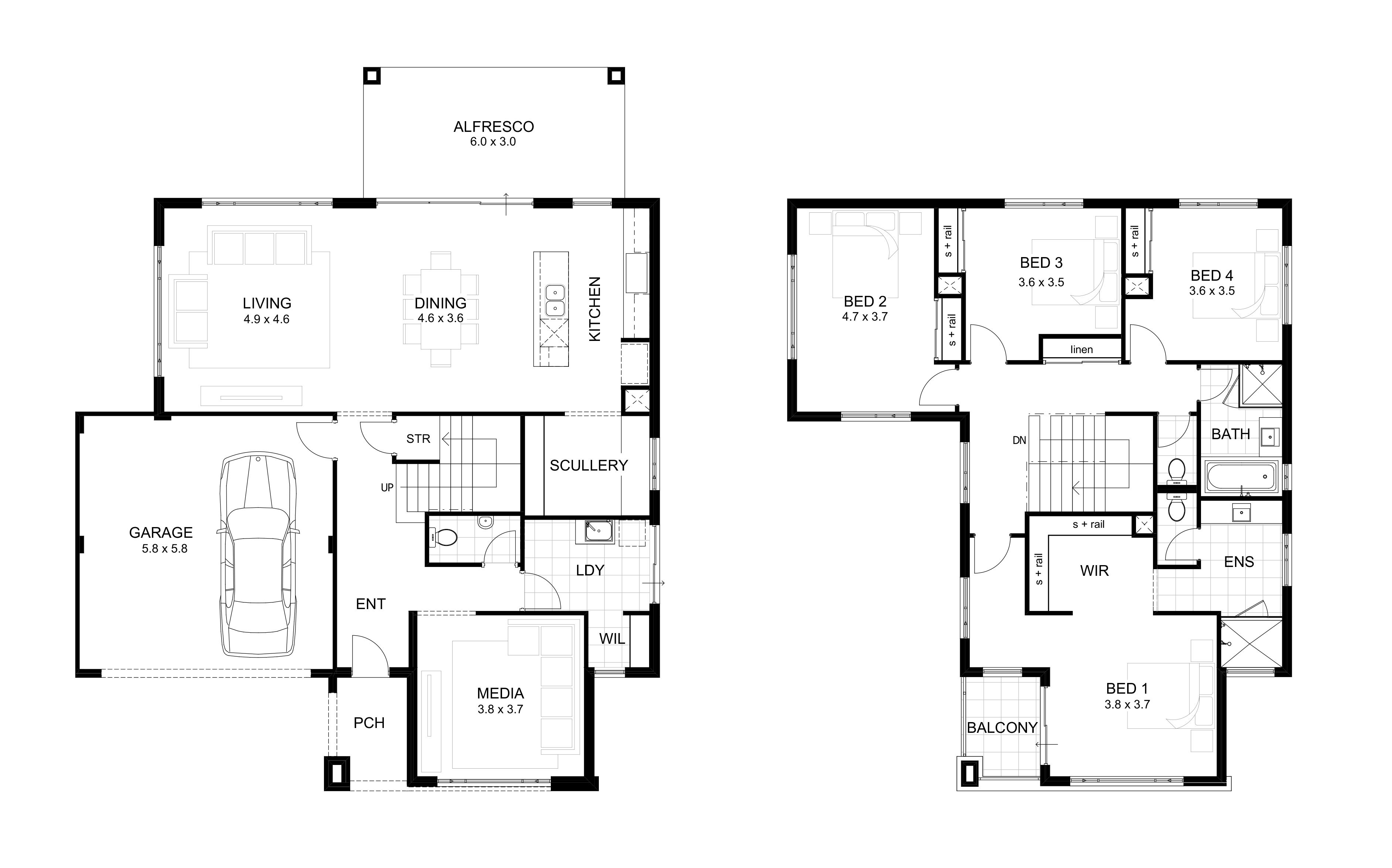 Double Storey Expression Range Perth Apg Homes Portsea Can Be Changed To Upside Double Storey House Plans Modern House Floor Plans Architectural Floor Plans