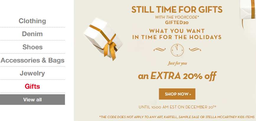 Enjoy an Extra 20% Off Your Order + Free Shipping at Yoox. Found on DealsAlbum.com.