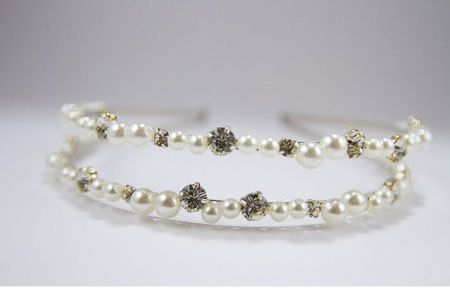 Two row headband with rhinestone and pearl by PapierCouture1, $45.00