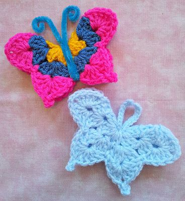 """butterflies, scroll down a bit.. So, today I tried this pattern, and overall its a good pattern for a quick and simple butterfly. The only thing that was a little unclear is when it says """"*(4 dc , ch 1, 4 dc) in ch-1 sp, sc btw next two 3-dc shells*, repeat btw * x 5"""" I actually had to repeat it 6 times instead of 5 to get the two bottom points of the wing to line up. But other than that, a great quick small butterfly"""