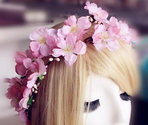 Sakura Cherry Blossom Flower Crown Wreath By Seleneyl On Etsy Flower Wedding And Sakura Cherry Blossom Crown Cherry Blossom Flowers Head Wreath