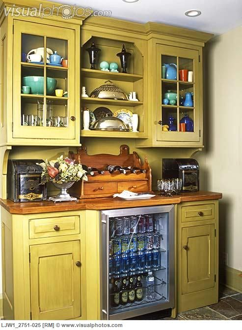 KITCHEN CABINETS: Stand Alone Custom Made Hutch With Glass Door Mini  Fridge. Federal Styling