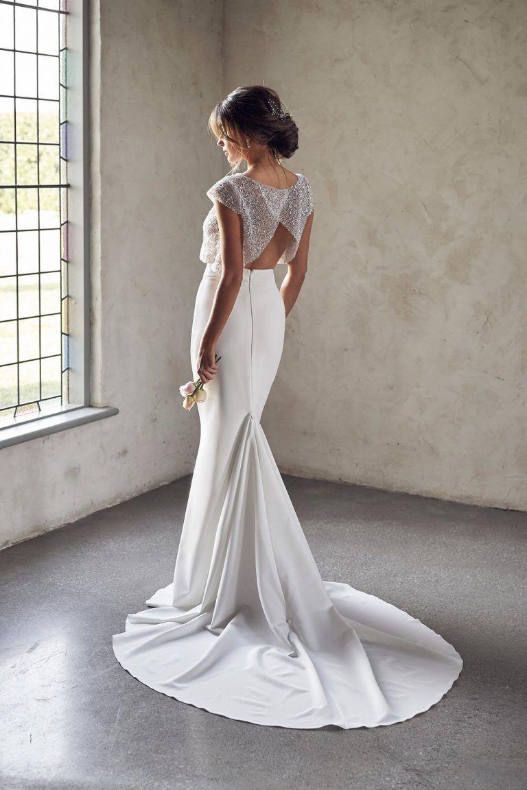 Cap Sleeve Illusion Neckline Two Piece Sheath Wedding Dress With Beaded Top | Kleinfeld Bridal