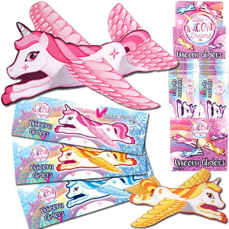 24 UNICORN GLIDER PLANES FLYING GIRLS TOY PRIZES GIFT BIRTHDAY PARTY BAG FILLERS